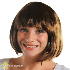 6 PACK OF LADIES BROWN BOB WIG WITH FRINGE FANCY DRESS FLAPPER FASHION BABE HAIR
