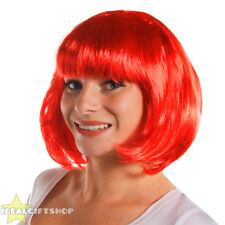 6 PACK OF LADIES RED BOB WIGS WITH FRINGE FANCY DRESS HEN PARTY FASHION HAIR