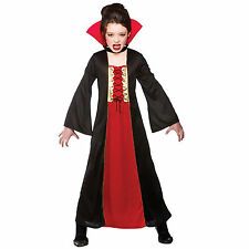 Childrens Girls Gothic Vampiress Halloween Horror Scary Fancy Dress Costume New