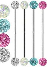 Surgical Steel Ferido Crystal Industrial / Scaffold bar Barbell - Choose Colour