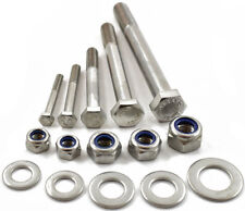 M12 A2 STAINLESS PART THREADED BOLT SCREW + NYLOC NUT & WASHERS HEXAGON HEX HEAD