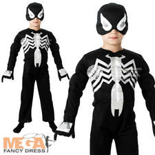 Black Spiderman Boys Fancy Dress Comic Superhero Kids Childs Costume Outfit New