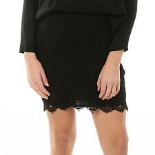 VILA Pencil Rock Häkel Spitze LACELY SKIRT BLACK schwarz Party