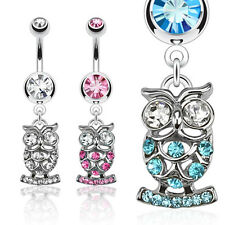 Surgical Steel Owl Dangle Belly Bar with CZ Gems