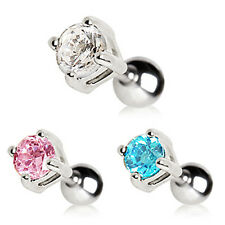 Surgical Steel Cartilage Earring / Tragus Bar with Round Gem - Choose Colour