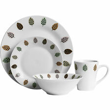 Elm Design Crockery Stoneware Dining Dinner Service Sets Leaf Plates Bowls Mugs