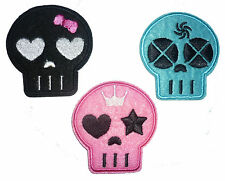 Cartoon Coloured Skull Iron / Sew On Patch Embroidered Motif Badge