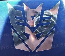 Transformers Decepticons Stickers Small - Large Sizes Silver Mirror Chrome Decal