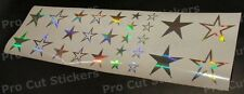 Silver Mirror Chrome Hologram Star x27 Stickers Decals For Car Van Bedroom Walls