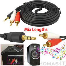 3.5mm Male Jack to 2 RCA Phono Audio Stereo Cable OFC Lead 50CM 1M 2M 5M 19M