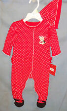 LITTLE ME 100% Cotton Red Christmas Bear Footie w/Matching Hat GIRL SIZES  NWT