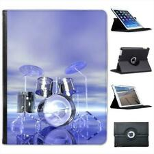 Funky Reflective Drum Set Futuristic Folio Wallet Leather Case For iPad 2, 3 & 4
