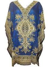 NEW EAONPLUS Gorgeous BLUE/Multi Batik Print Kaftan Tunic Top - Size 16 to 34