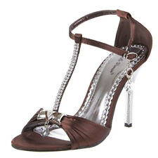 Damen Schuh Pumps New Bella STRASS RIEMCHEN PEEP TOE HIGH HEELS Braun