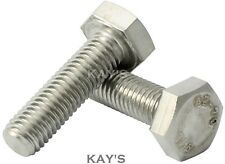 M12 12mm HEXAGON HEAD SET SCREWS FULLY THREADED METRIC BOLTS A2 STAINLESS STEEL