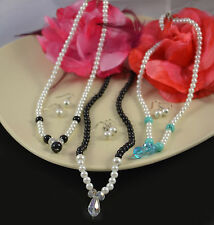 GLASS PEARL WITH TURQUOISE, CLEAR OR BLACK TEAR DROP NECKLACE & EARRINGS SET