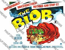 "Cult Film ""The Blob"" Steve McQueen Classic Vintage Sci-Fi Poster re-print A4, A3"