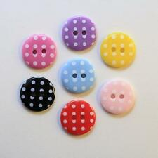 6 x Boutons à Pois 15mm Couture Coudre Scrapbooking