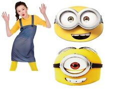 Despicable Me Minion Mask Stuart or Bob + Matching Girls Dungarees with Top