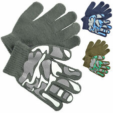 Boys Magic Stretch Gloves With Camouflage Palm Grip Print Blue Grey Green Camo