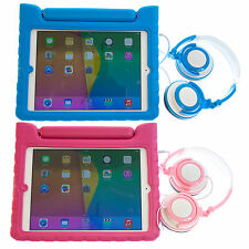Kids EVA Foam Protective Case with Handle Stand + Headphones for iPad Air 2 II