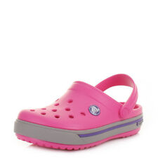 Girls Kids Crocs Crocband 2.5 Fuchsia Grey Sandals Clogs Slip On Shoes Uk Size