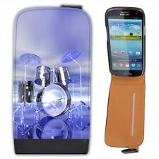 Funky Reflective Drum Set Futuristic Leather Flip Case for Samsung S3