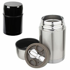Stainless Steel Double Insulated Thermal Food Soup Drinks Travel Flask & Spoon