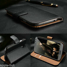 Real Genuine Leather Flip Wallet Slim Case Pouch Cover For Samsung Galaxy Phones