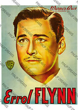 Vintage Art Re-Print of Movie Star Errol Flynn Personality Poster size A4 A3 A3+