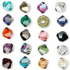 6 Swarovski Crystal 6mm Xilion Faceted Bicone Double Cone Beads W/ Facets A-K