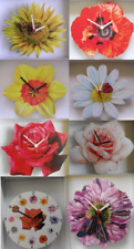ENGLISH COUNTRY GARDEN FLOWER WALL CLOCK.NEW.7 STYLES POPPY, SUNFLOWER ETC