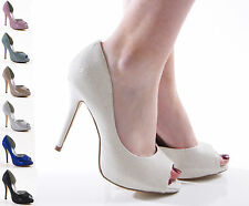 LADIES WOMENS HIGH HEEL PROM BRIDAL WEDDING PEEP TOE SANDALS SHOES SIZE