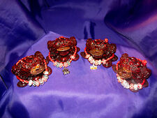 FSH085 Feng Shui 3 Legged Money Frog/Toad + Great Wealth Collar 7.5cm