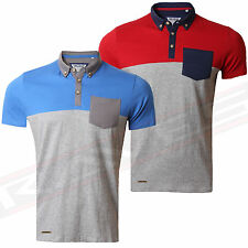 Mens Pique Polo Shirt T-shirt Top Short Sleeve Panelled Cotton Threadbare MMT119