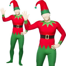 ELF SKIN SUIT ALL IN ONE WITH HAT CHRISTMAS HELPER ONESIE FANCY DRESS COSTUME