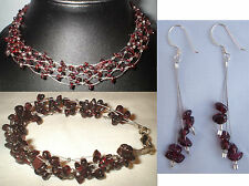 Garnet necklace bracelet earrings + ring collier grenat Granat Kette  granate