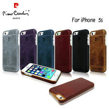 New Pierre Cardin Genuine Leather Hard Back Case Skin Cover Apple iPhone 5/5S