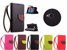 For Microsoft Nokia Lumia 535 PU Leather Flip Wallet Leaf Stand Cover Case Skin