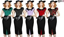 New Rockabilly Retro Vintage Style 40's 50's Pin Up Wiggle Pencil Bow Tea Dress