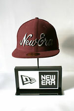 New Era 59FIFTY New Era Script Grau Logo Kappe Angepasst Burgund Baseballkappe