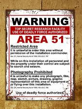 Metal Sign vintage style warning Area 51 funny decorative tin wall door plaque