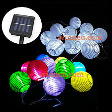 10 20 30 LED Solar Lampion Lichterkette Garten Party Gartendeko Solarlampion