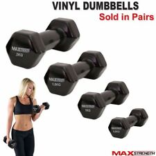 Vinyl Dumbbells Aerobic Fitness Weight Training Set Exercise Dumbells Black Pair
