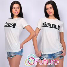 Casual T-Shirt Selfie Print Crew Neck Short Sleeve Sequined Top Sizes 8-14 FB82
