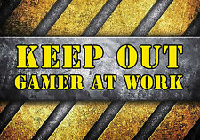 Metal Sign keep out gamer at work metallic grunge decorative wall door plaque