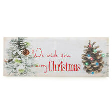 CHRISTMAS TIDINGS LED WALL ART Home Decorative Holiday Accent Canvas Wood Frames