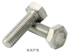 M5 HEXAGON HEAD SET SCREWS FULLY THREADED METRIC BOLTS A2 STAINLESS STEEL, KAY'S