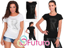 Casual Sequined T-Shirt R Print Short Sleeve Top Party Tunic Size 8-12 FB259