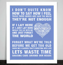 Snow Patrol Chasing Cars Music Love Song Lyrics Word Art Poster Print Valentine